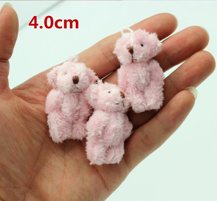 hot 10pc 4colors 4.0cm mini Joint Teddy Bear Plush Stuffed Wedding BOX toy doll Garment & Hair Accessories decor doll
