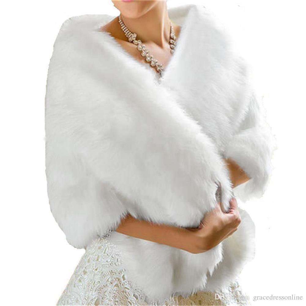 2017 High Quality Cheap Winter Bridal Fur Wraps Ivory White women Warm wool shawl Lady Wraps Bridal Accessory