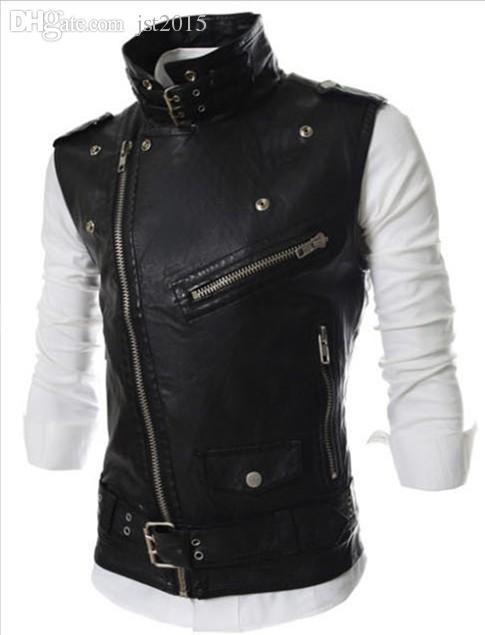 Livraison gratuite de chute! Punk style multi-fermeture à glissière conception en cuir pour hommes, Pank-stil 'mul'ti- Molniya dizayn muzhskoy kozhanyy zhilet