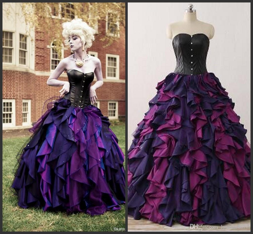 Vestiti Da Sposa Viola.Acquista Viola E Nero Organza Taffeta Ball Gown Gothic Abito Da