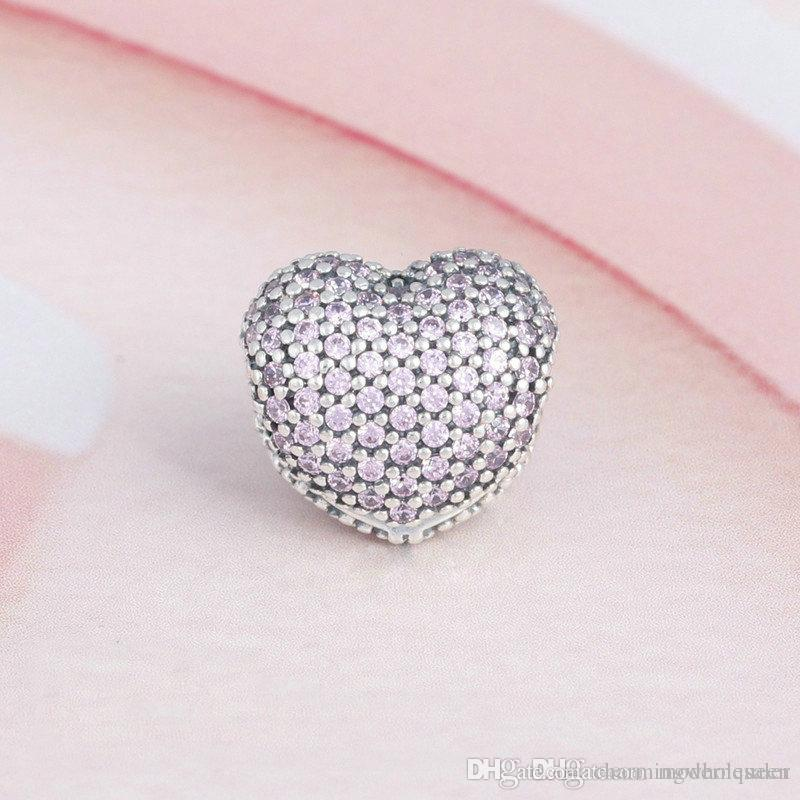 Pink Clips heart charms bracelets authentic S925 sterling silver beads fits pandora Jewelry bracelets free shipping