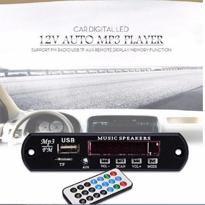 Free Shipping Car Digital LED 12V Auto MP3 Player Decoder Board Panel Support FM Radio USB TF AUX Remote Display Memory Function