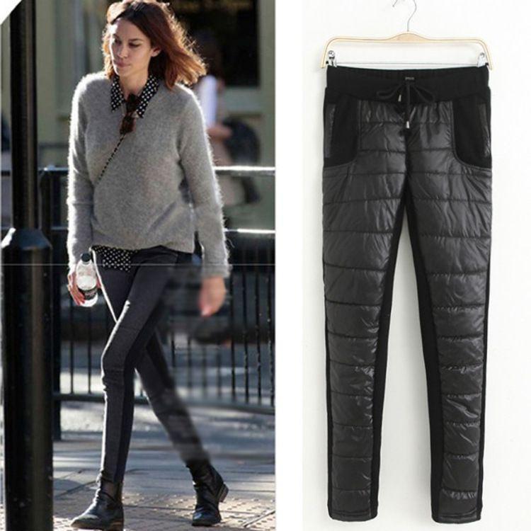 Jesień Zima Kobiety Down-Spodnia Nowy Wzór Europa Trend Slim Utrzymuj ciepło z aksamitnymi pogrubieniem bawełnianych spodniami Y15