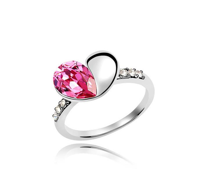 Fashina Luxury Diamond Jewelry ring 100% Brand new Alloy Heart shape Austria Crystal Wedding dress Silver Plated rings