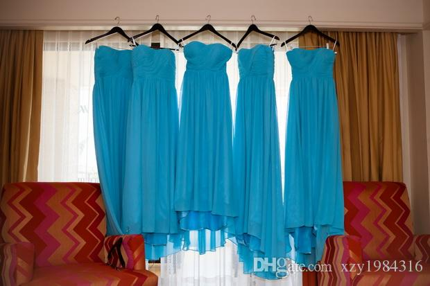 Cheap Blue Bridesmaid Dresses Long Pleated Ruched Skirt Train Top Quality Chiffon Wedding Party Dresses Beach Style Ruched Formal Gowns