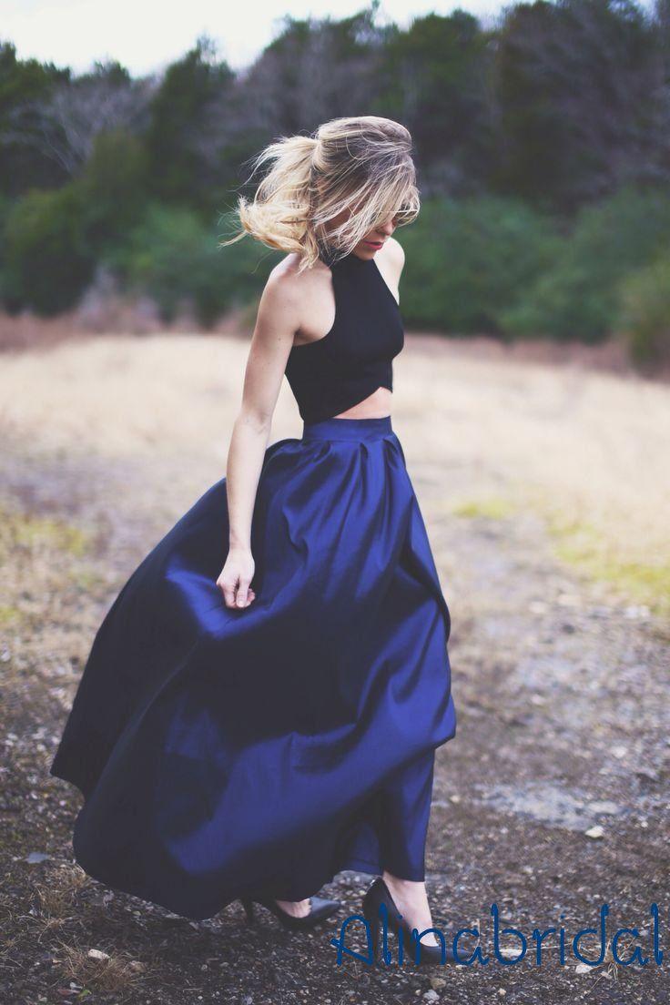 الأزرق الملكي المحاصيل الأعلى اثنان قطعة فساتين السهرة أكمام خمر عالية الرقبة الطابق طول طويل مساء العباءات المرأة رسمي prom اللباس