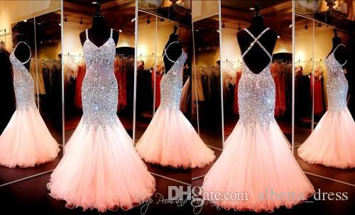 Amazing Coral Mermaid Prom Dress Sweetheart Neckline Open Back Pageant Evening Gowns With Full Beaded Crystal Custom Real Picture Gowns new