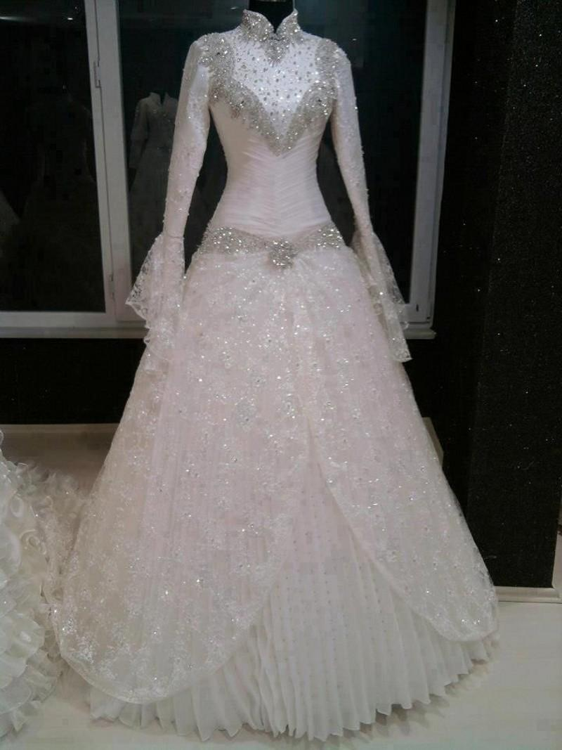 Sequins Beaded Muslim Wedding Dresses 2015 High Neck Long Sleeve Chiffon Ball Gown Zipper Hijab Wedding Dresses Custom Made Bridal Gowns