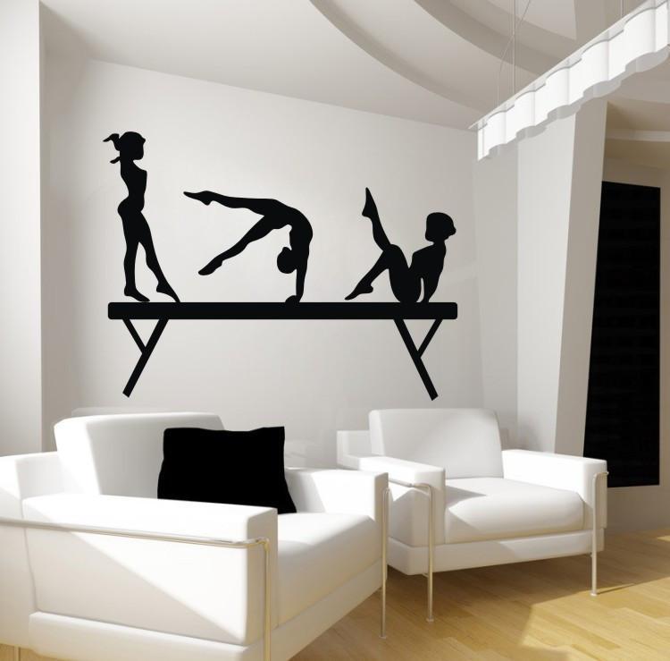 92*122cm Gril wall sticker for bedroom 3girls on Gym Gymnastic physical exercises sports wall decals