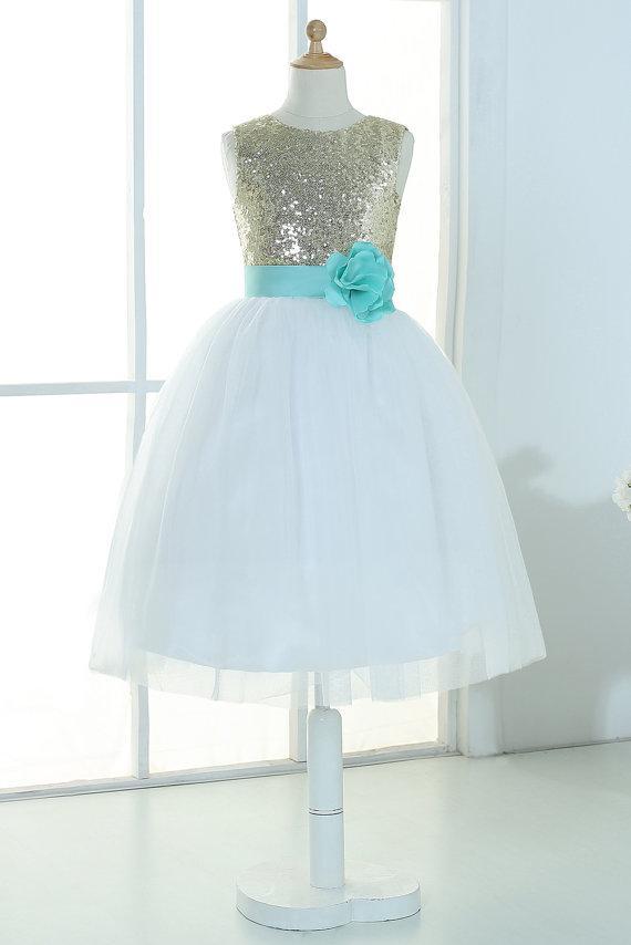 Gold sequins ivory tulle flower girl dress tutu princess kids children junior bridesmaid dress with mint sash detachable for wedding