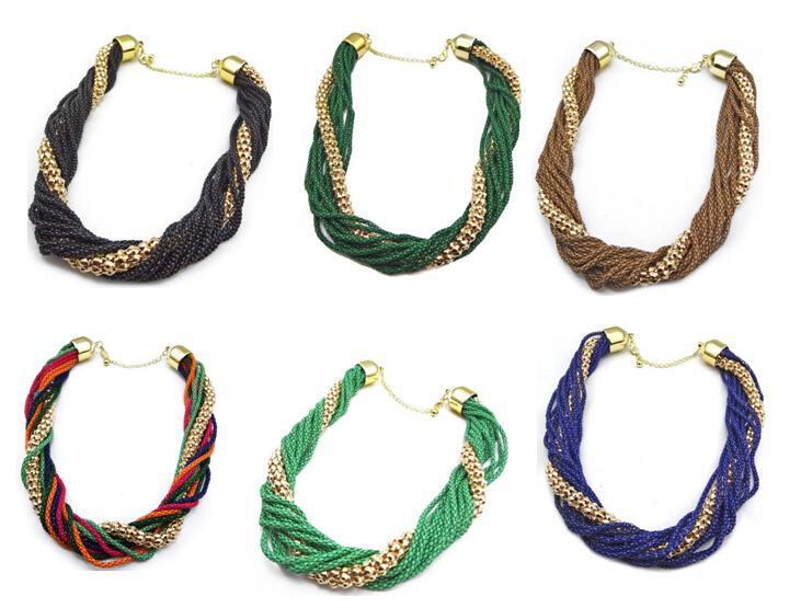 idealway nouveau style européen mode multicouches chaînes serpent gland lien collier tour de cou 6colors