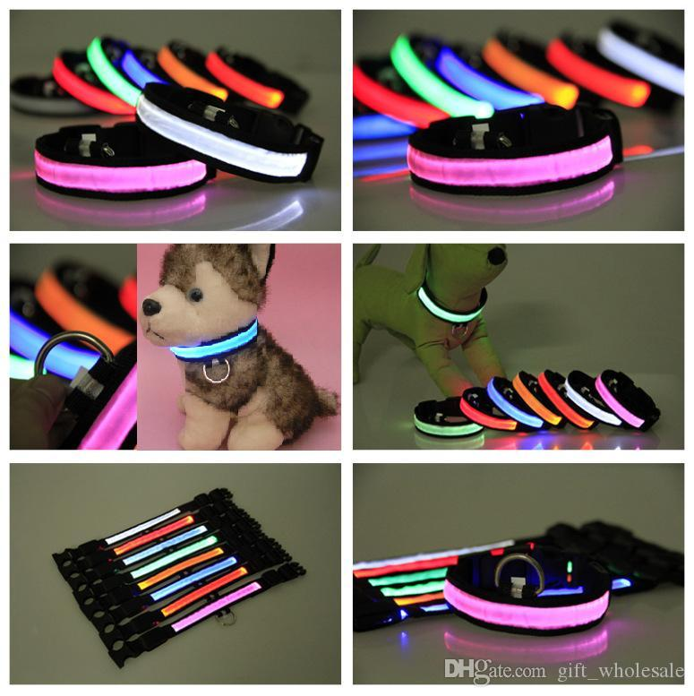 8 colors LED Flashing Dog Collar LED Pet Collar Necklace/Cat Collar Luminous Nylon Woven Collar for Puppy Glow in Dark