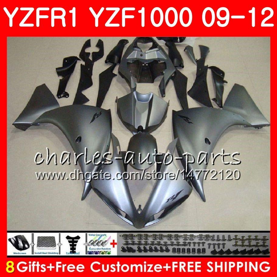 Body For YAMAHA YZF 1000 R 1 YZFR1 09 10 11 12 Glossy silver Bodywork 8NO5 YZF1000 YZF R1 2009 2010 2011 2012 YZF-1000 YZF-R1 09 12 Fairing