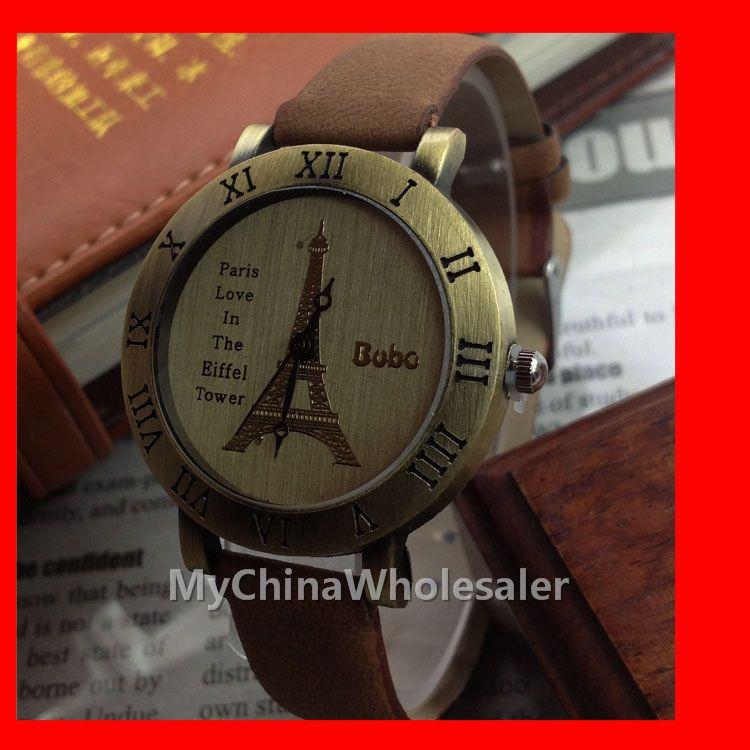 보보 빈티지 손목 시계 로맨틱 시리즈 파리 에펠 탑 가죽 시계 로마 시계 도매 레트로 숙녀 시계 고품질
