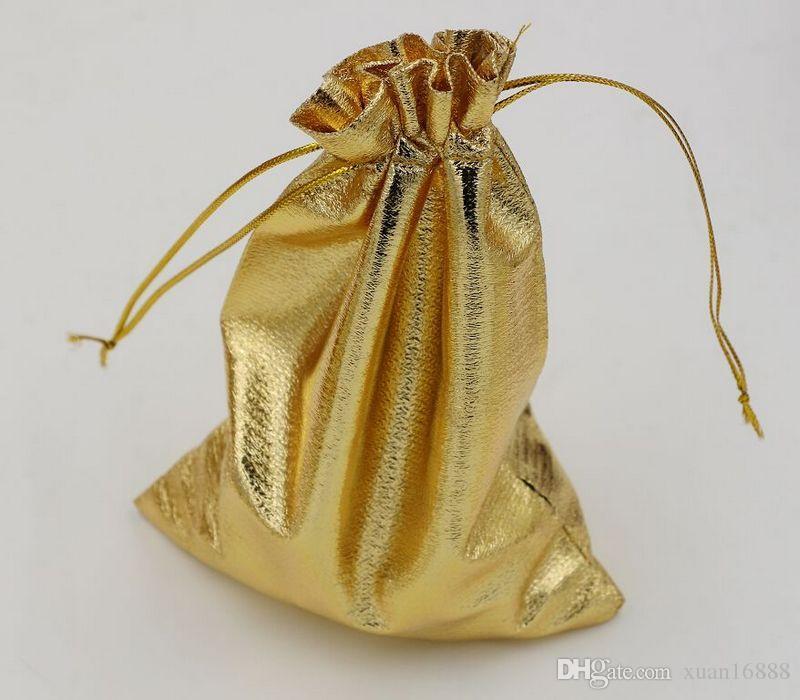 ¡Venta caliente! Bolso de la joyería del bolso del regalo del favor del boda de la organza de la hoja de oro paquete 11x16cm / 13x18cm (364)