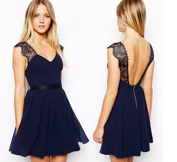 Nouveau 2014 été robe décontractée européenne exclusive sexy dentelle licou en mousseline de soie robe sans manches gilet femmes robe livraison gratuite