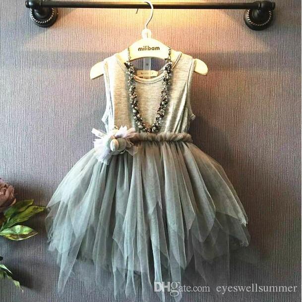 2016 Abiti da festa per ragazza Estate per bambini Vestito irregolare Vestito a rete Vestito da bambino in pizzo per bambini Vestito da principessa floreale infantile