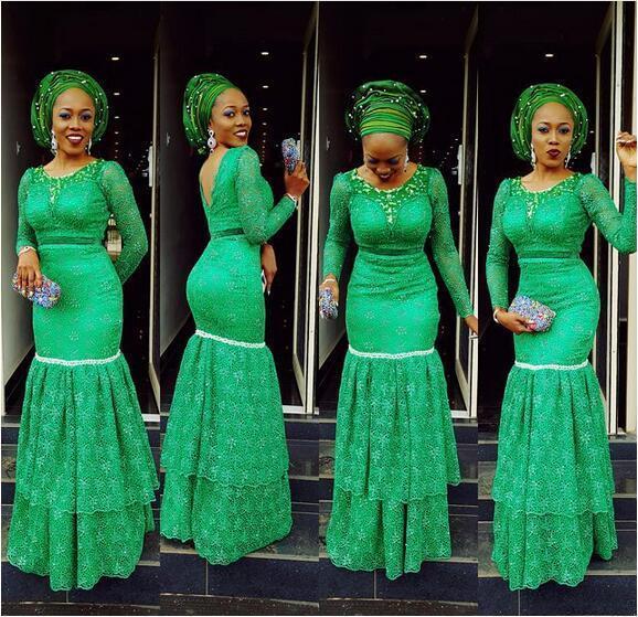 2019 Nijeryalı Dantel Stilleri Uzun Kollu Mermaid Abiye asoebibella Balo Parti Pageant Törenlerinde Tier Kat Uzunluk Artı Boyutu