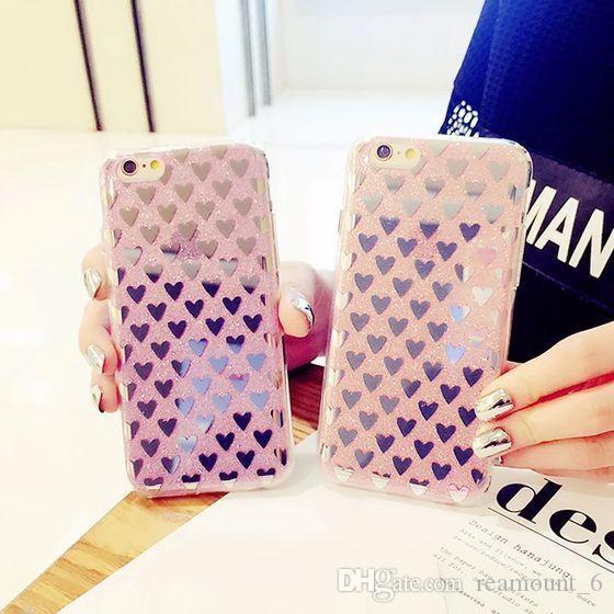 Caso suave amor del brillo de silicona para el caso de la manera iPhone 6 7 8 Personalidad de Mareas de iPhone 6 7 Plus Coque para el iPhone 5