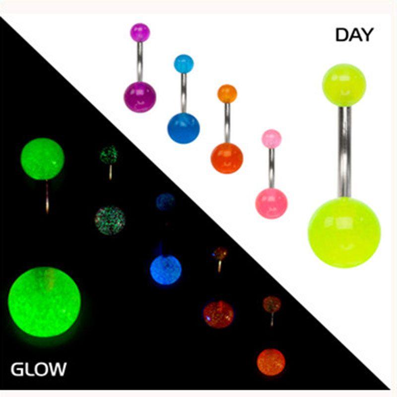 Barril del vientre bar 100 unids / lote mezclar 6 colores brillan en la perforación del cuerpo oscuro belly bellyring joyería