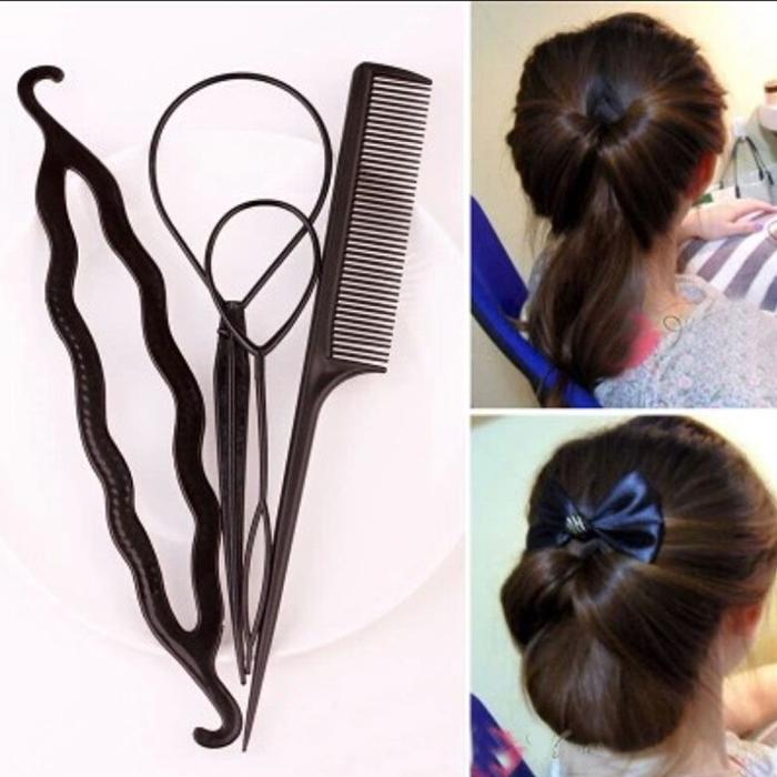 Hair Twist Styling Clip Stick Bun Maker Braid Tool Hair Accessories New Fashion 1 set=4pcs Free shipping