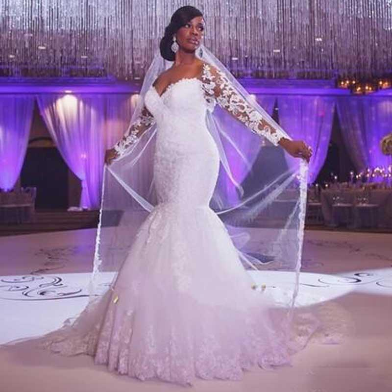 2015 Plus Size Fit And Flare Wedding Dresses Mermaid Bridal Gowns With  Illusion Long Sleeves Lace Appliques Off The Shoulder Court Train Wedding  ...