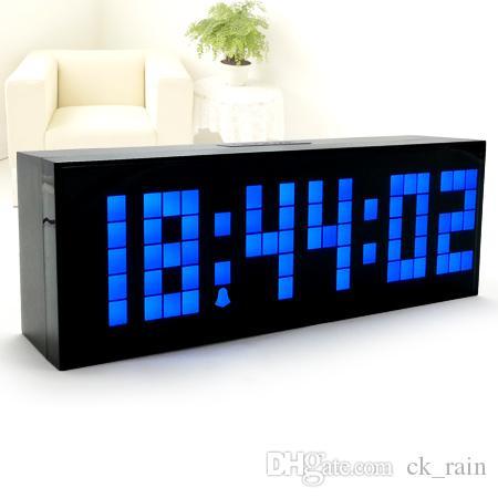 Jumbo LED Réveil Minuterie Horloge Murale Décor À La Maison Horloge De Table Intérieur Arrière Réveil Alarme