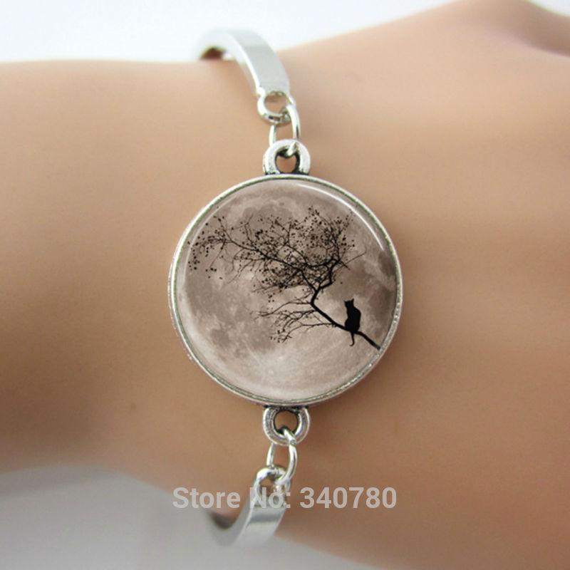 New design glass cabochon dome bracelets bangles round silver charm with landscape image bangles in High Quality, cheap price