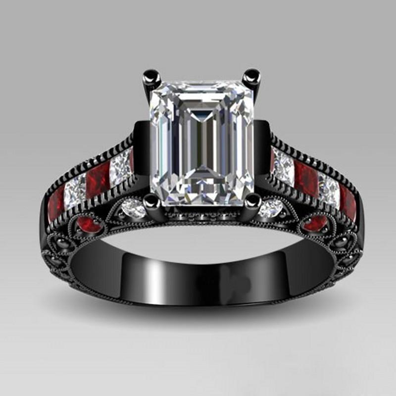 victoria wieck ringe Vintage-Schmuck Roter Granat Diamonique 10KT Schwarzes Gold Gefüllt Simulierter Diamant Ehering Weihnachtsgeschenk Größe 5-10