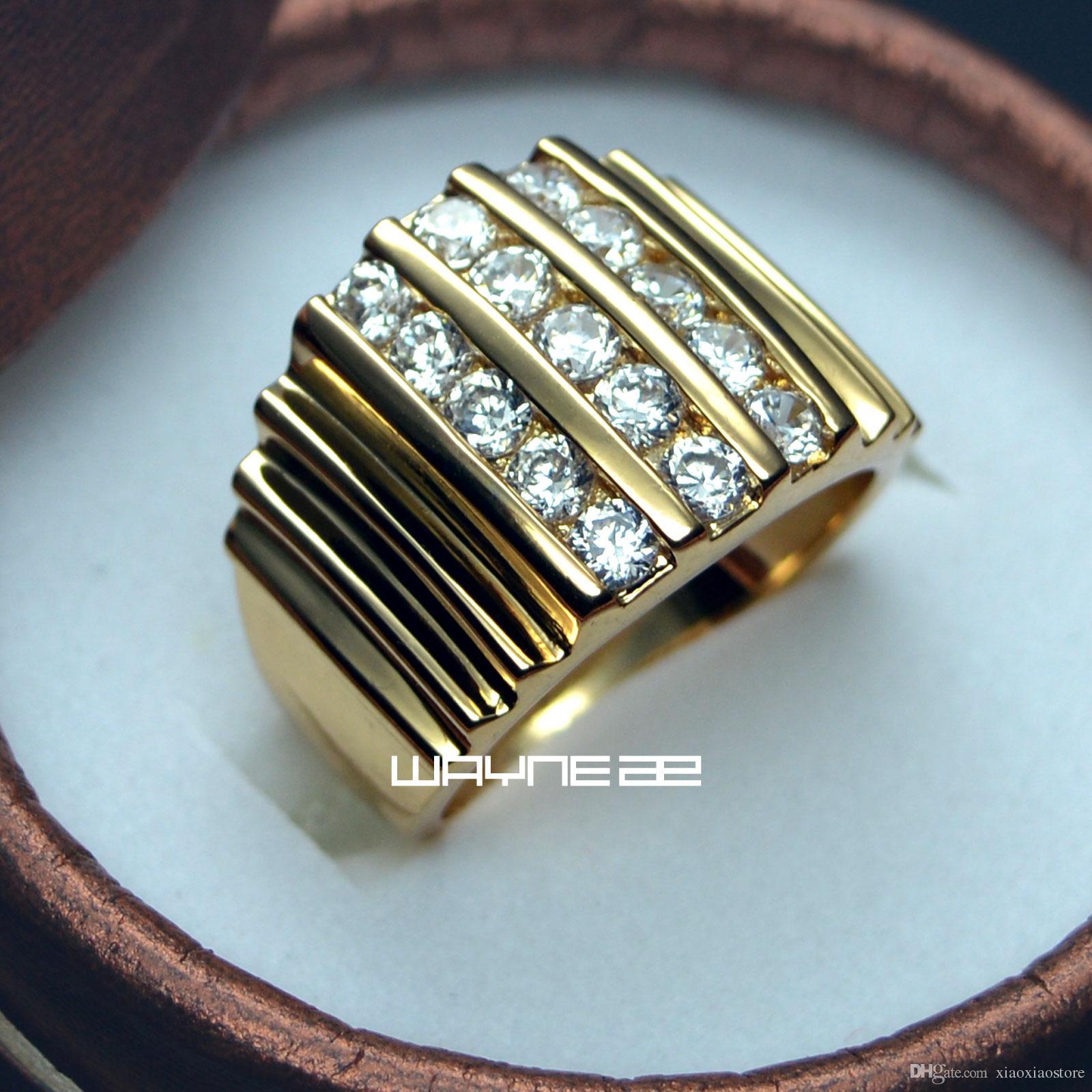 Anello in oro 18k GF creato diamante Anello da fidanzamento da uomo, misura grande, misura 9-15 R117