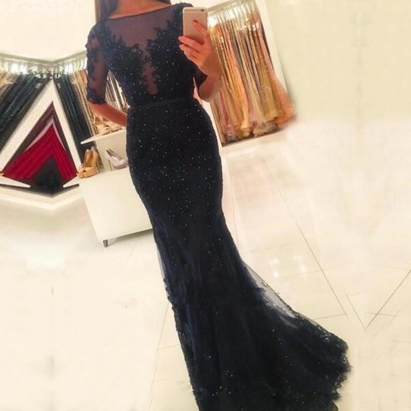 Abiti da sera vintage neri Mermaid 2017 Sheer Vestido De Festa Prom Dress lunghezza pavimento con maniche