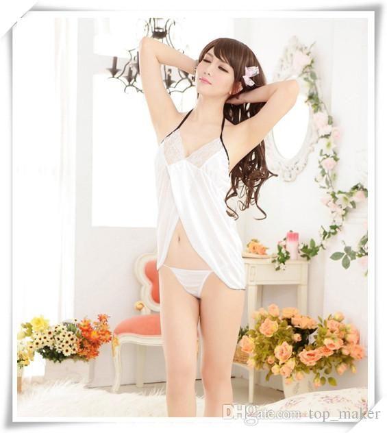 Ücretsiz Boyutu Sexy Lingerie Beyaz Yumuşak Elbise Erotik Temiz Pijama Kadın Gecelik Seks Giysileri İç Satış Ürün Gecelik
