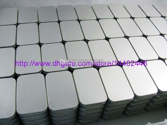 100pcs 주석 컨테이너 저장 상자 금속 사각형 구슬 비즈니스 카드 사탕 허브 케이스 9.4cm x 5.9cm x 2.1cm 슬리버