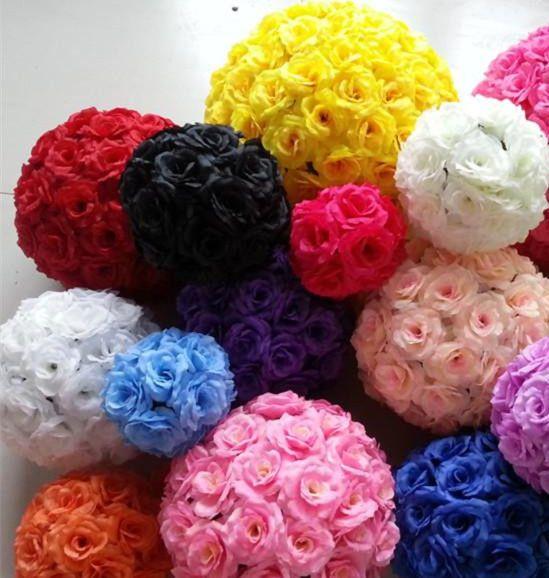 가짜 장미 공 Dia. 15cm 실크 키스 장미 꽃 웨딩 파티 장식에 대 한 u 색상 인공 장식 꽃 공