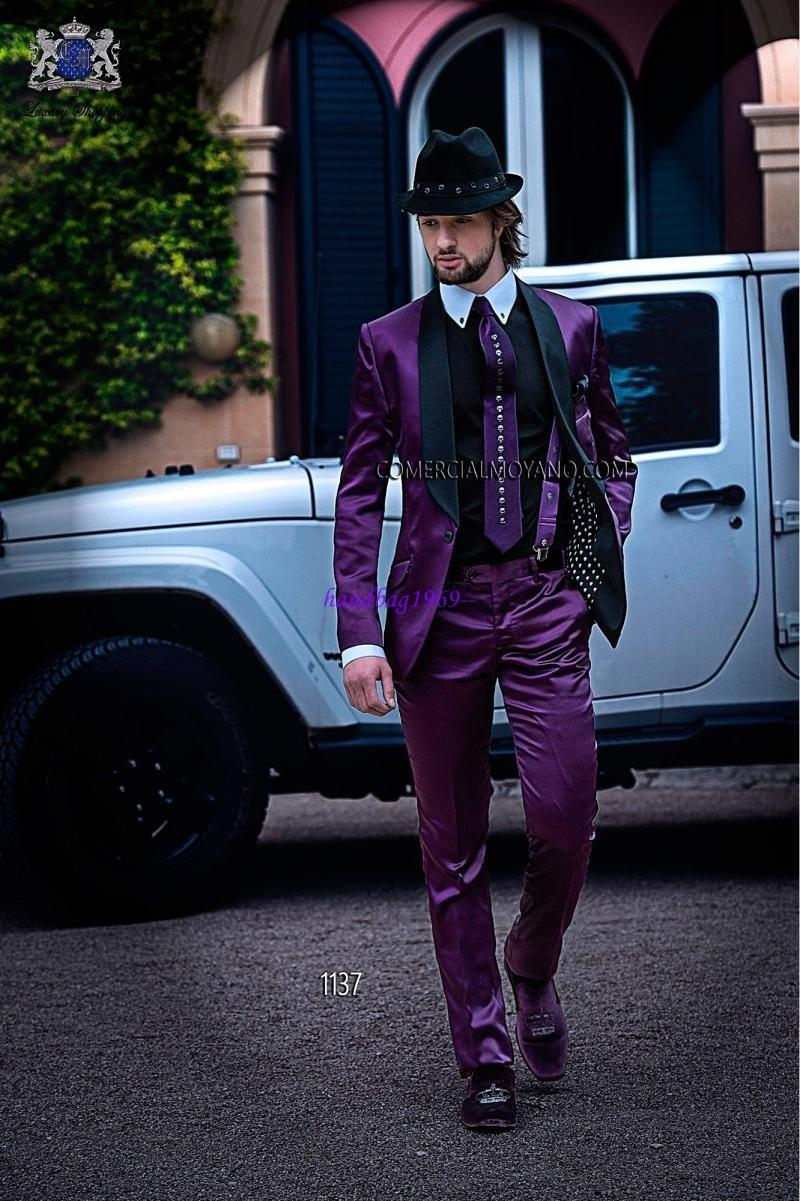 Brillante morado satinado novio esmoquin botones un chal cuello mejor hombre Blazer encantador trajes de boda para hombre (chaqueta + pantalones + pajarita + pañuelo) A1265