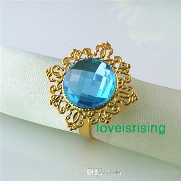 Самая низкая цена--50шт Аква синий позолоченный винтажный стиль кольца для салфеток свадьба свадебный душ держатель для салфеток-- Бесплатная доставка
