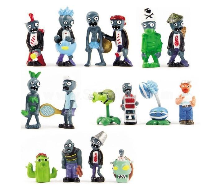 16 x 식물 대 좀비 장난감 시리즈 게임 역할 그림 디스플레이 장난감 PVC Gargantuar Craze Dave Dr. Zomboss