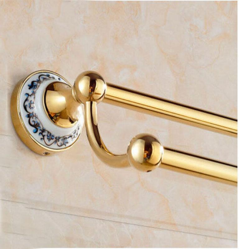 Оптом и в розницу Керамический Стиль Золотой Латунь Настенный Вешалка Для Полотенец Ванной Комнаты Двойные Бары С Вешалки