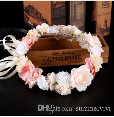 عرس الزفاف أكاليل بنات الأميرة الملونة محاكاة الزهور أكاليل رئيس عطلة التصوير الشاطئ الاكسسوارات الاطفال اكاليل C2245