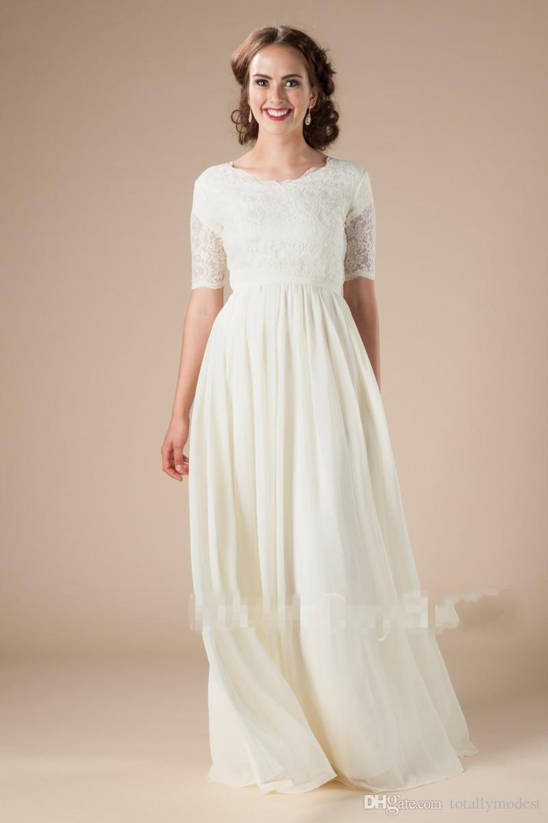 New Lace Chiffon Boho Modest Wedding Dresses With Short Sleeves Boho Bridal Gowns A-line Floor Length Reception Informal LDS Wed Dress