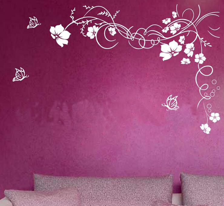 ... 2015 Hot Beautiful Flower Wall Paper Decal Art Stickers For Home  Decoration Living Room Bedroom Sofa ...