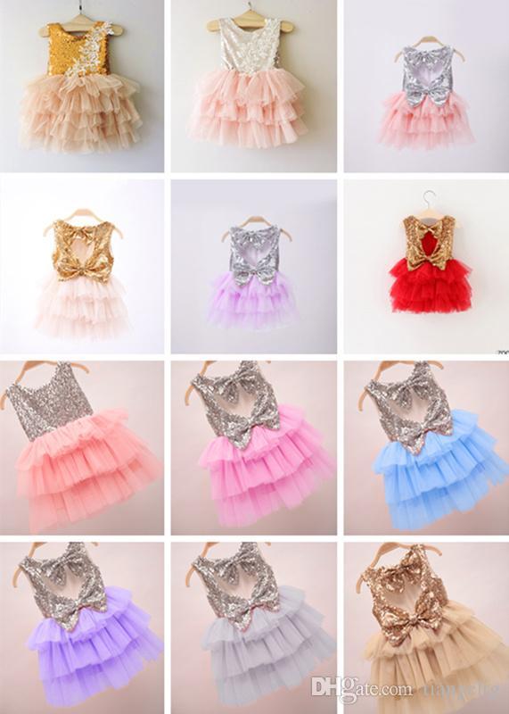 12 disegni ragazze paillettes gonna torta doppio archi abiti da sposa in pizzo estate TUTU gonne granatine moda neonate vestiti volant 2-7 T
