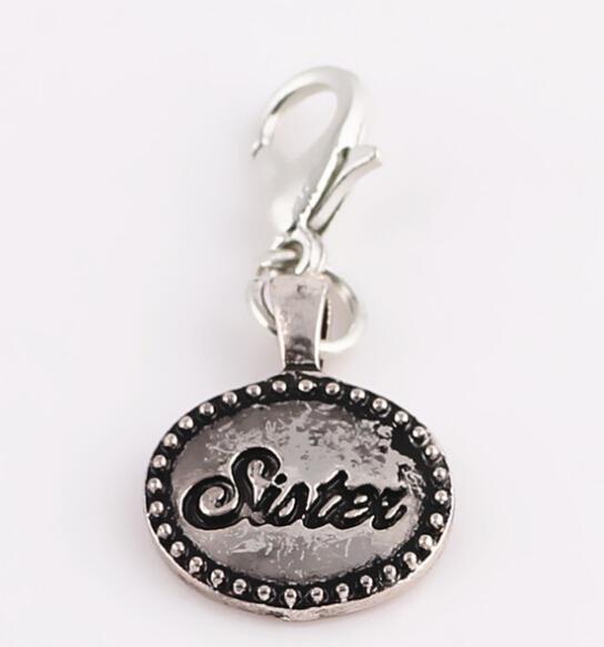 """20pcs / lot argento """"sorella"""" parole di famiglia ciondolo pendente di fascini con moschettone fit per galleggiante medaglione regalo per gli amici"""