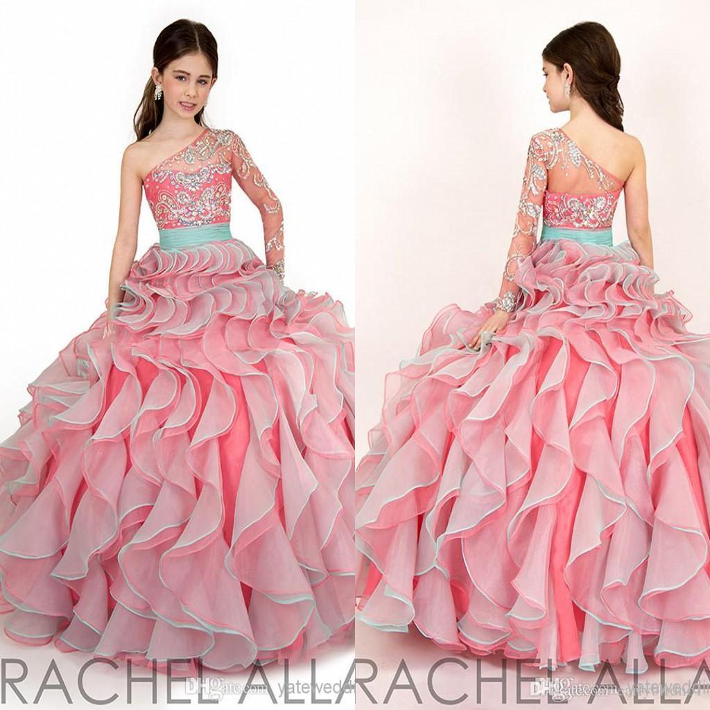 Rumieniec Różowy Jeden Ramię Dziewczyny Korowne Suknie 2016 Rachel Allan Idealny Kąt Dziecko Urodziny Party Suknie Ruffles Organza Cute Suknie RA1572