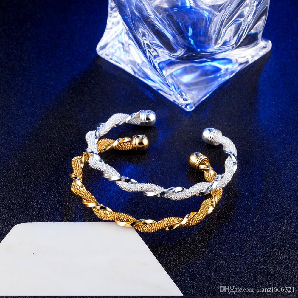 10pcs / lot chaud cadeau prix usine 925 breloque en argent bracelet torsadé bracelet en or 18 carats bijoux de mode 1822