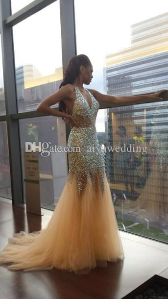 2019 Sexy Bling Sereia Vestidos de Baile Decote Em V Profundo Halter Cristal Frisado Tule Ver Através Sem Encosto Nudez Evening Vestidos Pageant Vestidos