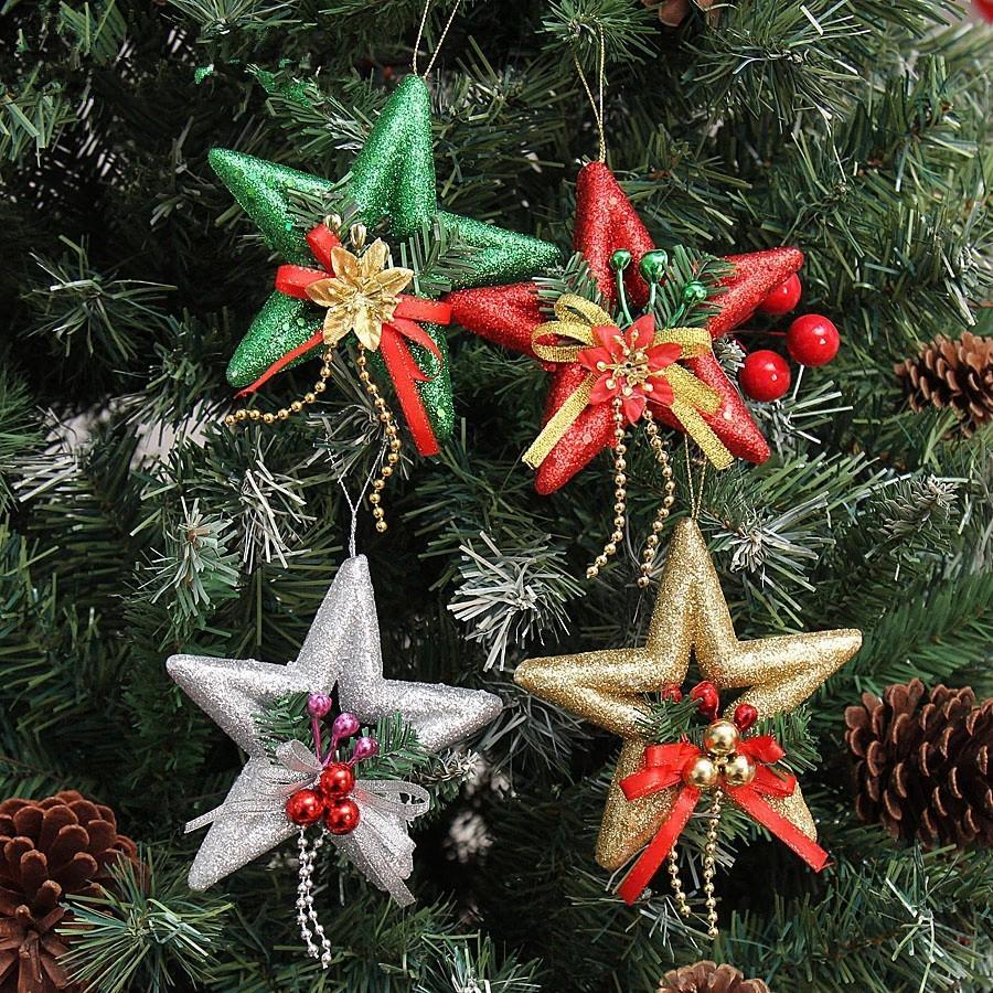 2015 Новый 13 см полые остроконечные звезды блеск приклеены декоративные украшения, украшенные елочные украшения для рождественской елки