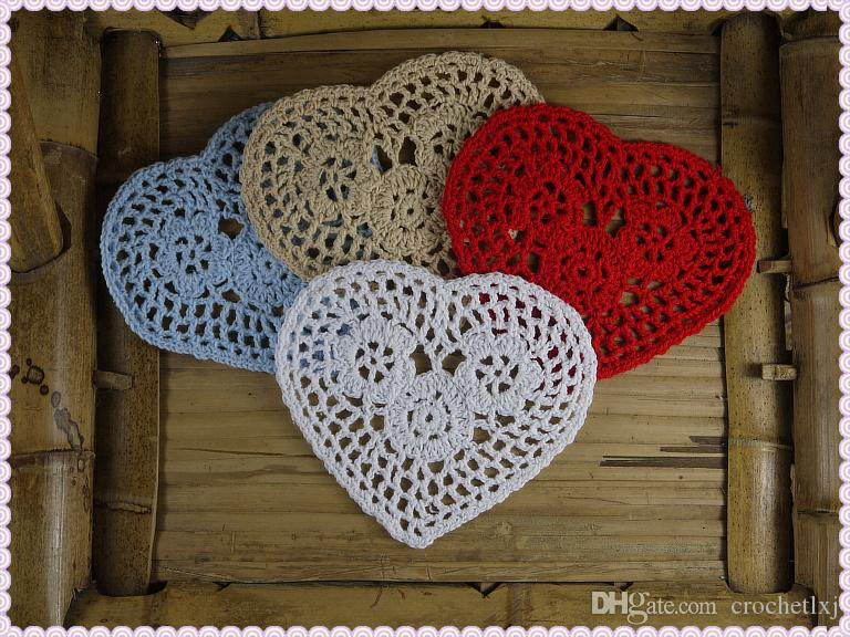 Free shipping wholesale 100% cotton hand made Shaped Heart crochet doily lace cup mat vase mat, coaster 12cm table mat 20PCS/LOT