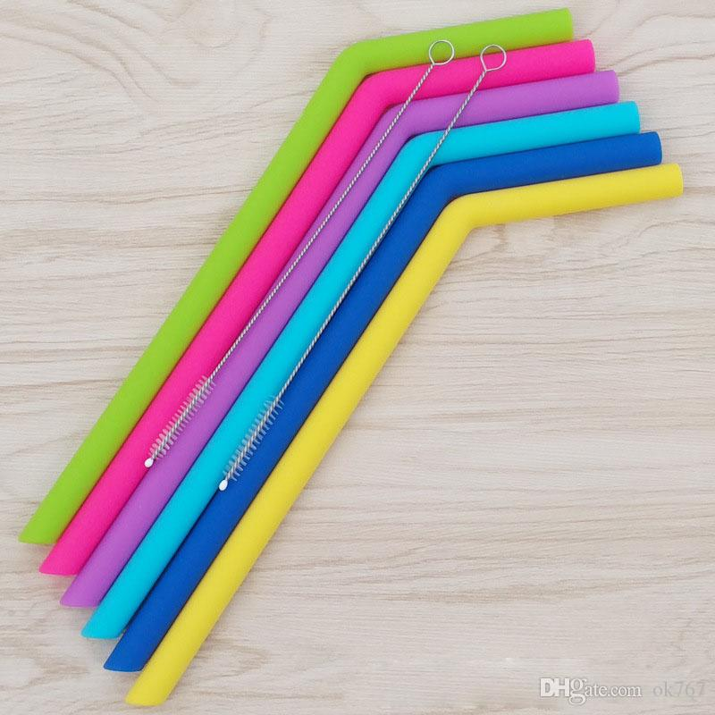 Caldo ! Paglia colorata del silicone del commestibile per la cannuccia del gel di silice della tazza 30oz con trasporto libero della spazzola