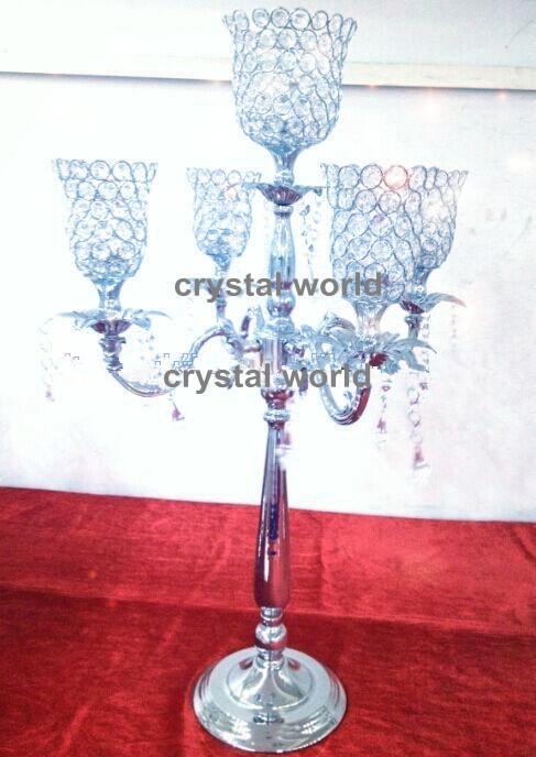 Candelabro in cristallo a 5 braccia all'ingrosso per decorazione di nozze 12